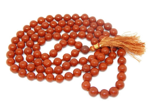 Picture of Red Jasper Mala : 108+1 Beads Knotted Mala