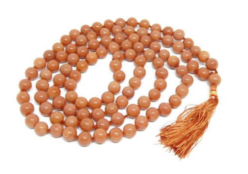 Picture of Peach Moonstone Mala : 108+1 Beads Knotted Mala
