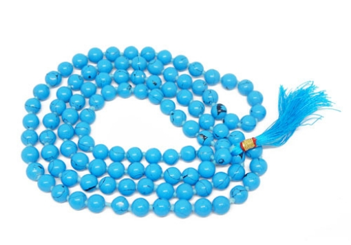 Picture of Turquoise Mala : 108+1 Beads Knotted Mala