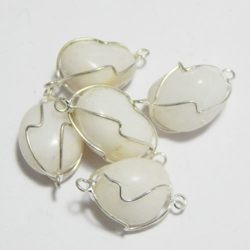White Agate Wire Wrapped Tumble