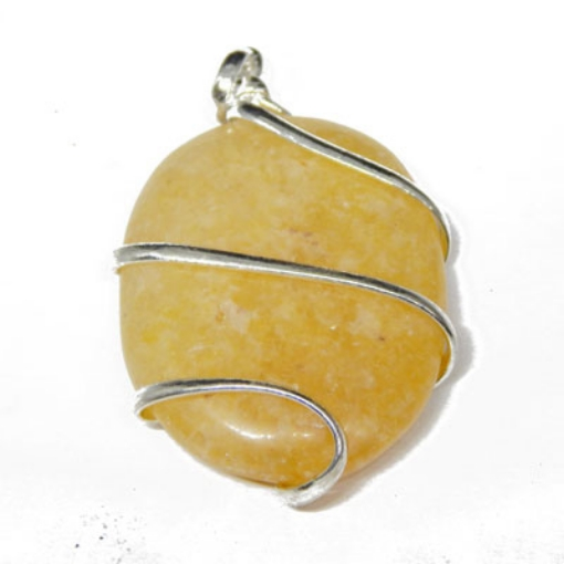 Yellow Aventurine Oval Wire Wrapped Pendant