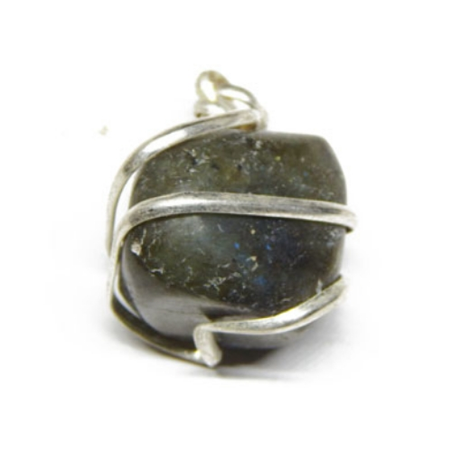 Wire Wrapped Black Agate Pendant